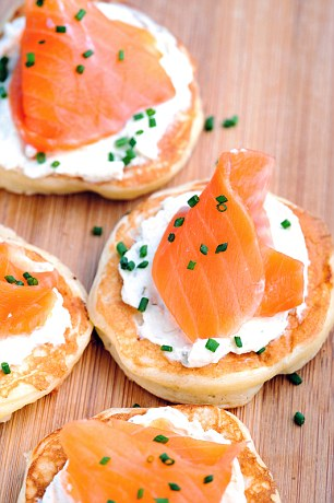 Blinis with smoked salmon and chive crème fraiche