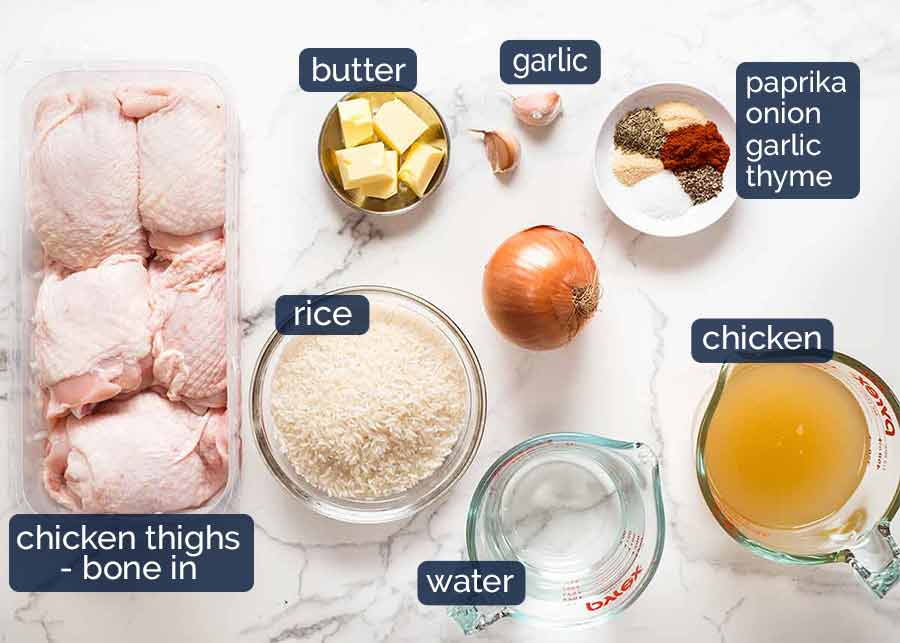 Ingredients in Oven Baked Chicken and Rice